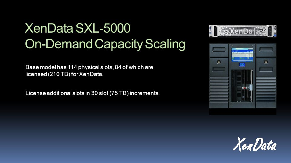 XenData SXL-5000 On-Demand Capacity Scaling Base model has 114 physical slots, 84 of which are licensed (210 TB) for XenData.