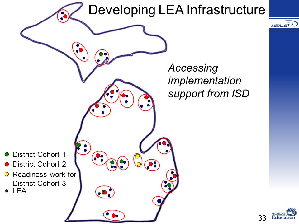 33 District Cohort 1 District Cohort 2 Readiness work for District Cohort 3 LEA Developing LEA Infrastructure Accessing implementation support from IS