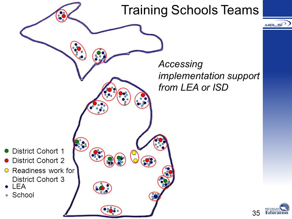 35 District Cohort 1 District Cohort 2 Readiness work for District Cohort 3 LEA School Training Schools Teams Accessing implementation support from LE