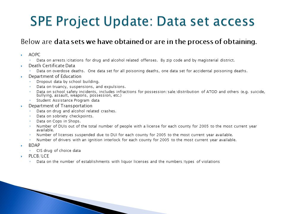 Currently we have about 15 of our 20 data sets.