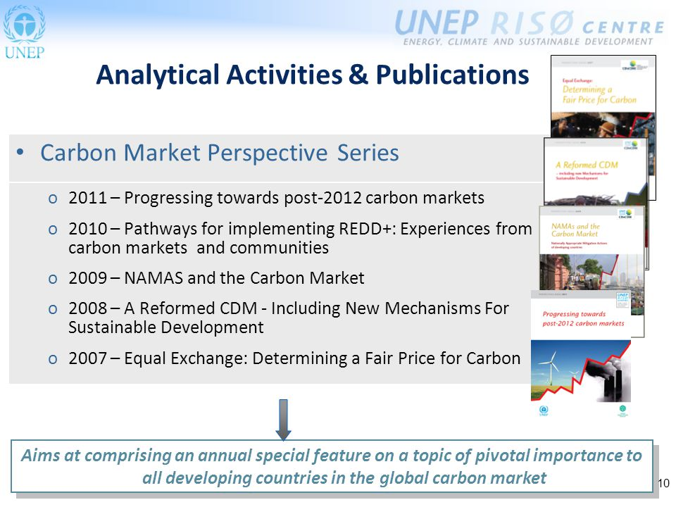 10 Carbon Market Perspective Series Analytical Activities & Publications Aims at comprising an annual special feature on a topic of pivotal importance