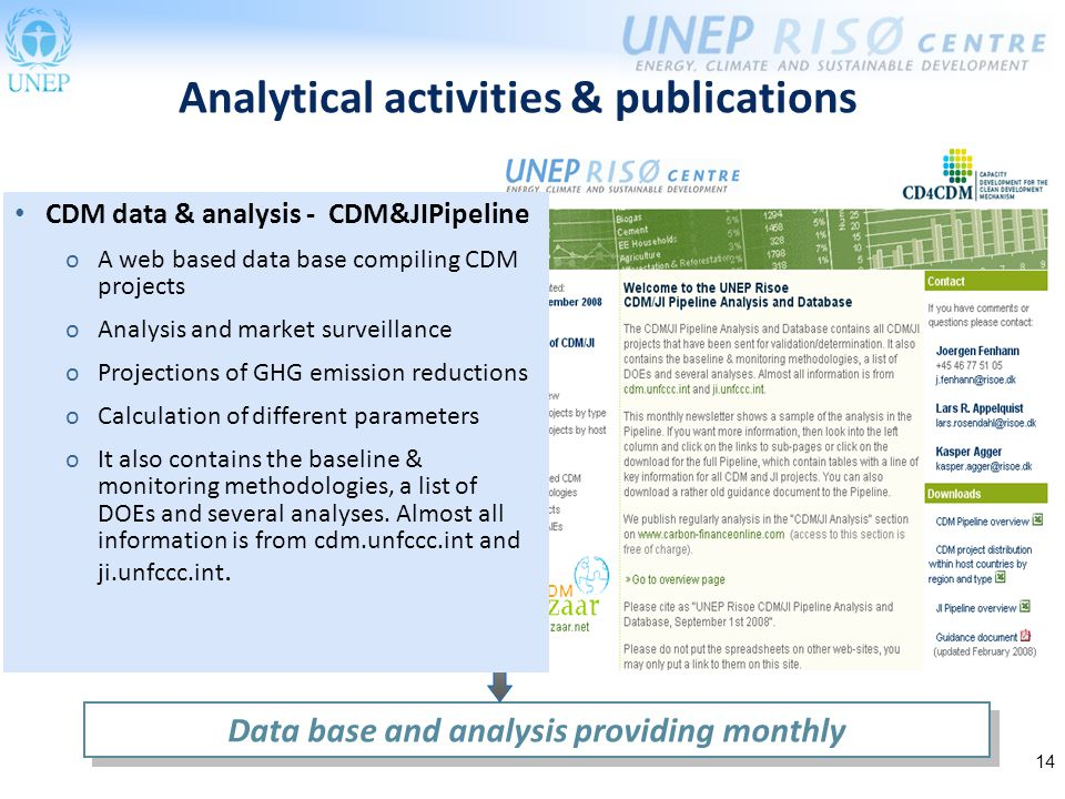 14 Analytical activities & publications Data base and analysis providing monthly CDM data & analysis - CDM&JIPipeline oA web based data base compiling