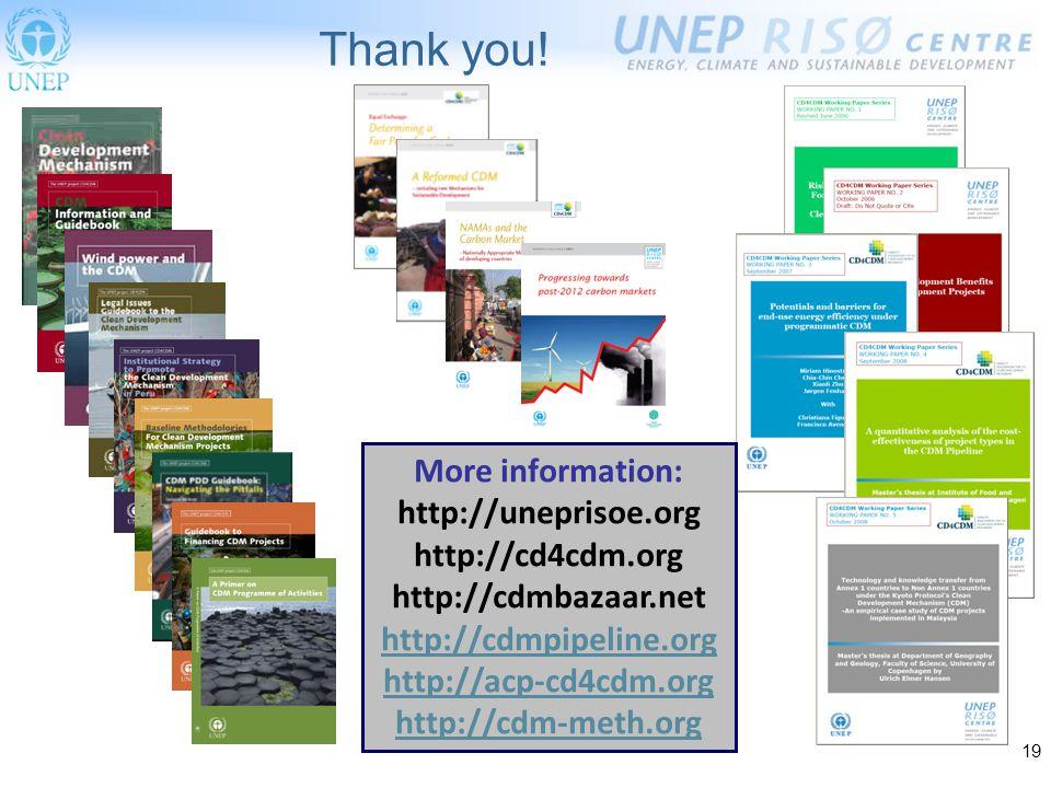 19 More information: http://uneprisoe.org http://cd4cdm.org http://cdmbazaar.net http://cdmpipeline.org http://acp-cd4cdm.org http://cdm-meth.org Thank you!
