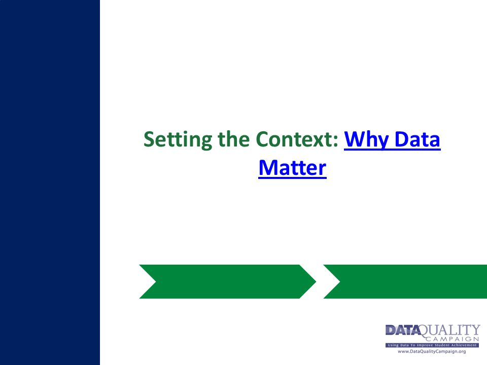 Setting the Context: Why Data MatterWhy Data Matter