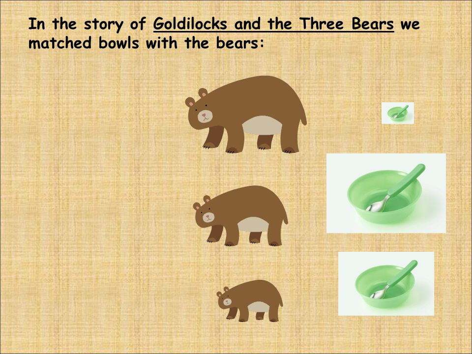 In the story of Goldilocks and the Three Bears we matched bowls with the bears: