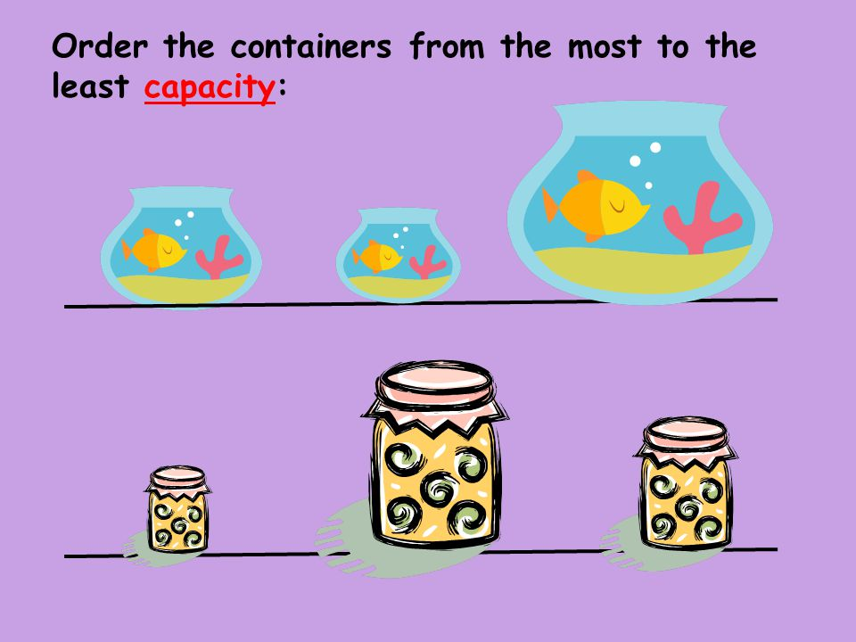 Order the containers from the most to the least capacity: