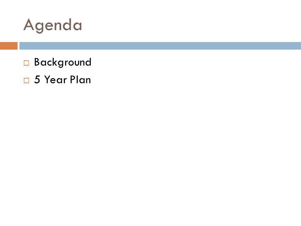 Agenda Background 5 Year Plan