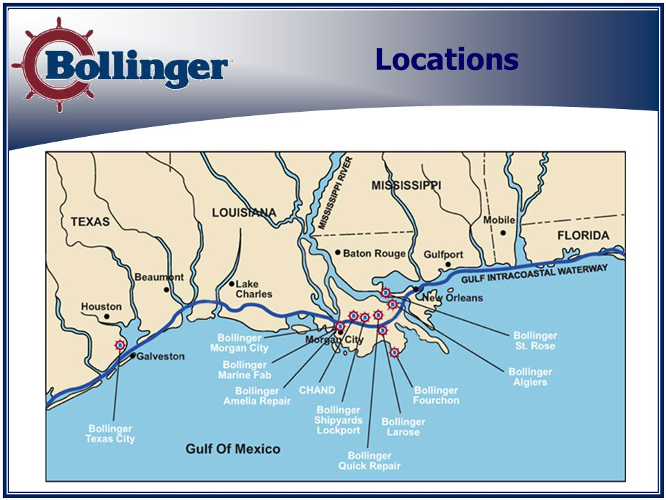 Bollinger Lockport New Construction Located on Bayou Lafourche Bulkhead Length: 3000 Water Depth: 14 Crane Capacity: 300 tons Full engineering staff Major new build fabrication Lift boats, patrol boats, OSVs barges, and tugs Covered fab shops: 461,000 sq.