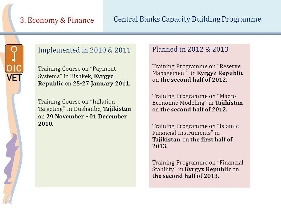 3. Economy & Finance Implemented in 2010 & 2011 Training Course on Payment Systems in Bishkek, Kyrgyz Republic on 25-27 January 2011. Training Course