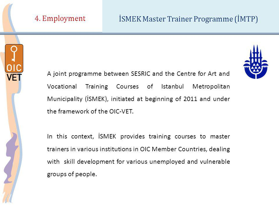 4. Employment İSMEK Master Trainer Programme (İMTP) A joint programme between SESRIC and the Centre for Art and Vocational Training Courses of Istanbu