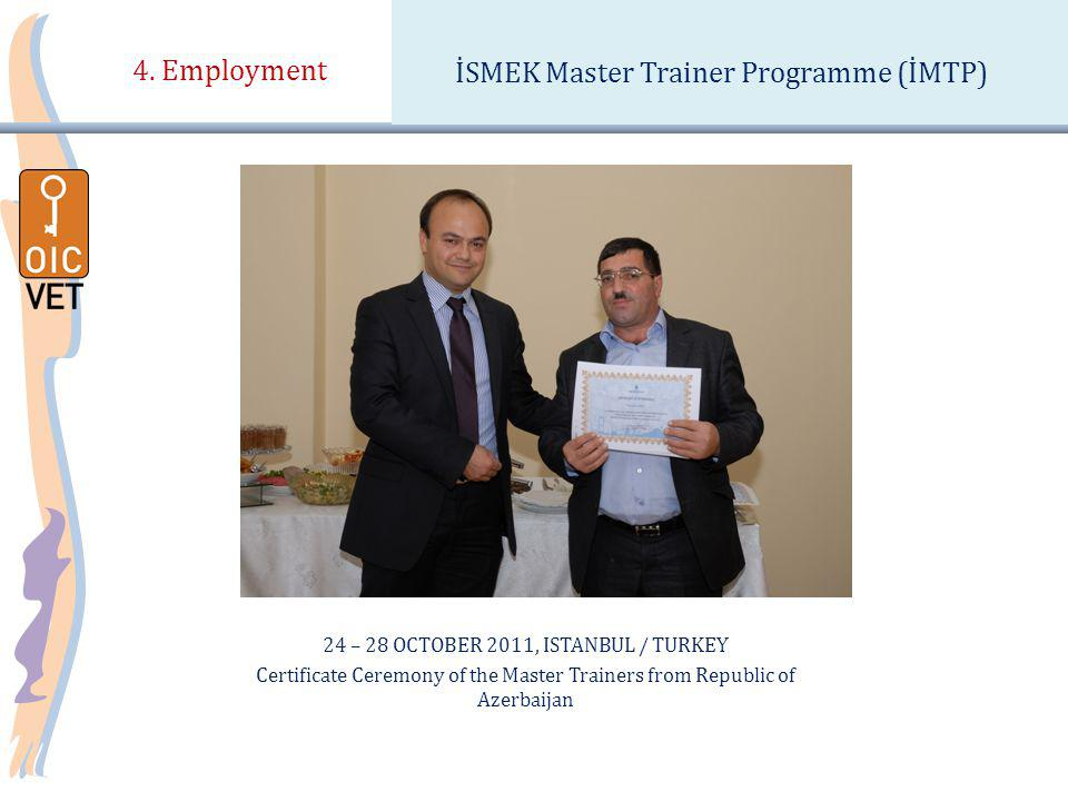 24 – 28 OCTOBER 2011, ISTANBUL / TURKEY Certificate Ceremony of the Master Trainers from Republic of Azerbaijan 4.