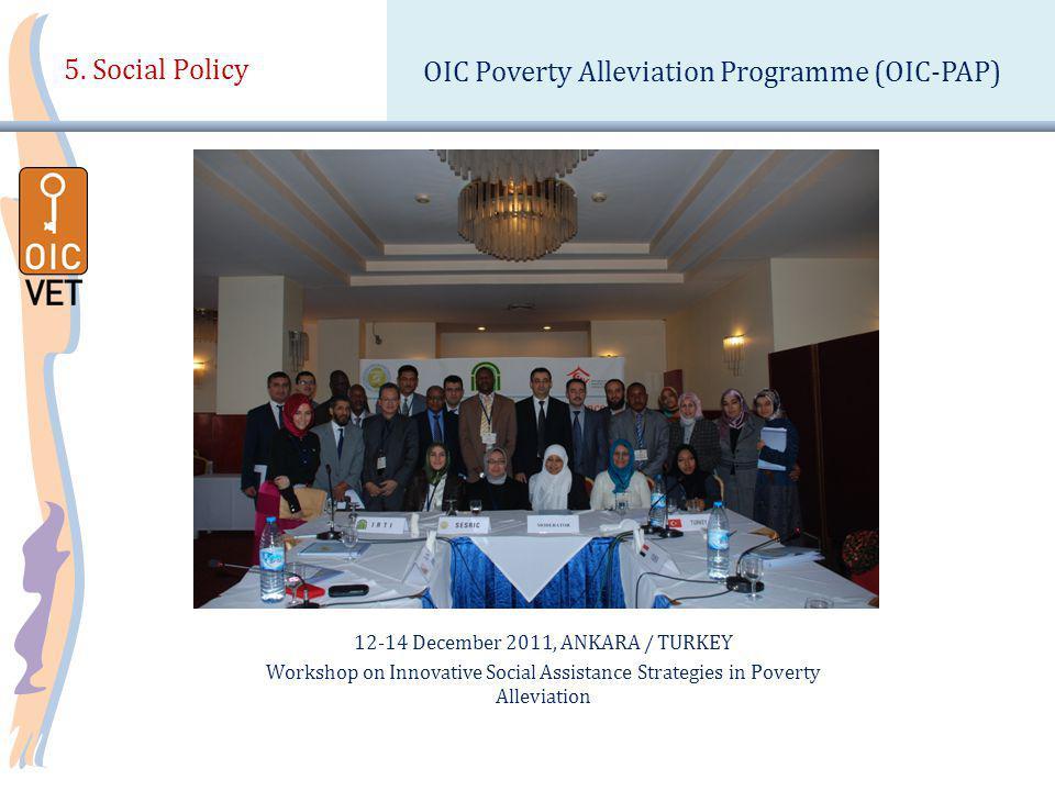 12-14 December 2011, ANKARA / TURKEY Workshop on Innovative Social Assistance Strategies in Poverty Alleviation 5.