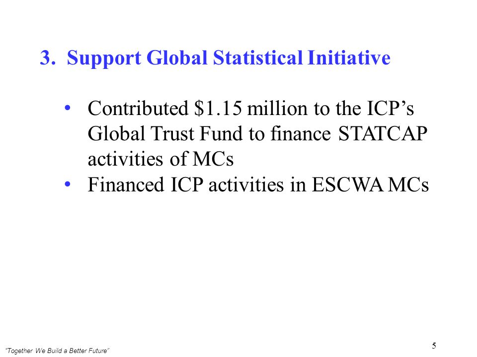 Together We Build a Better Future 5 3.Support Global Statistical Initiative Contributed $1.15 million to the ICPs Global Trust Fund to finance STATCAP activities of MCs Financed ICP activities in ESCWA MCs