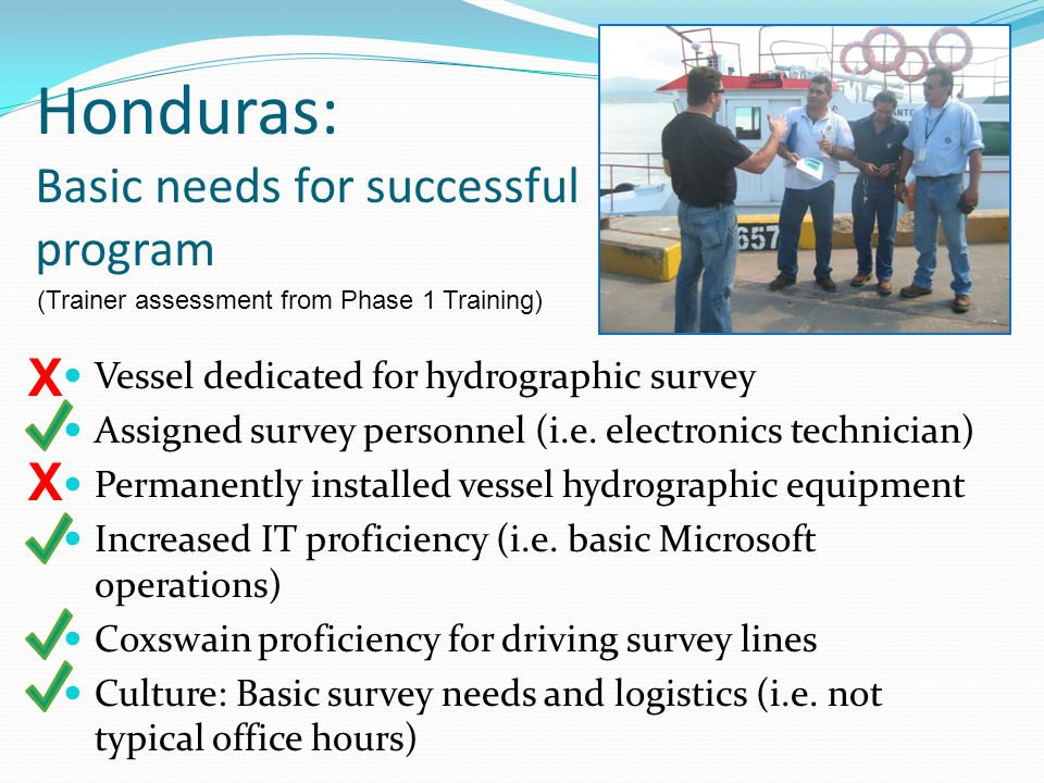 Honduras: Basic needs for successful program Vessel dedicated for hydrographic survey Assigned survey personnel (i.e. electronics technician) Permanen