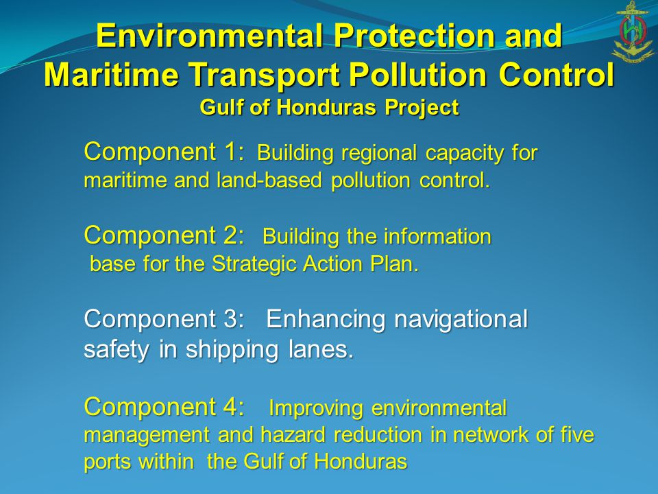 Component 1: Building regional capacity for maritime and land-based pollution control. Component 2: Building the information base for the Strategic Ac