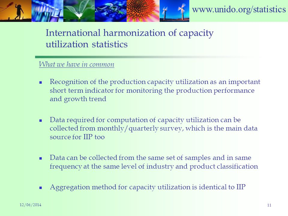 www.unido.org/statistics International harmonization of capacity utilization statistics What we have in common Recognition of the production capacity utilization as an important short term indicator for monitoring the production performance and growth trend Data required for computation of capacity utilization can be collected from monthly/quarterly survey, which is the main data source for IIP too Data can be collected from the same set of samples and in same frequency at the same level of industry and product classification Aggregation method for capacity utilization is identical to IIP 12/06/2014 11