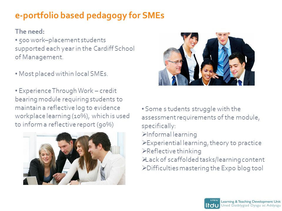 e-portfolio based pedagogy for SMEs The need: 500 work–placement students supported each year in the Cardiff School of Management.