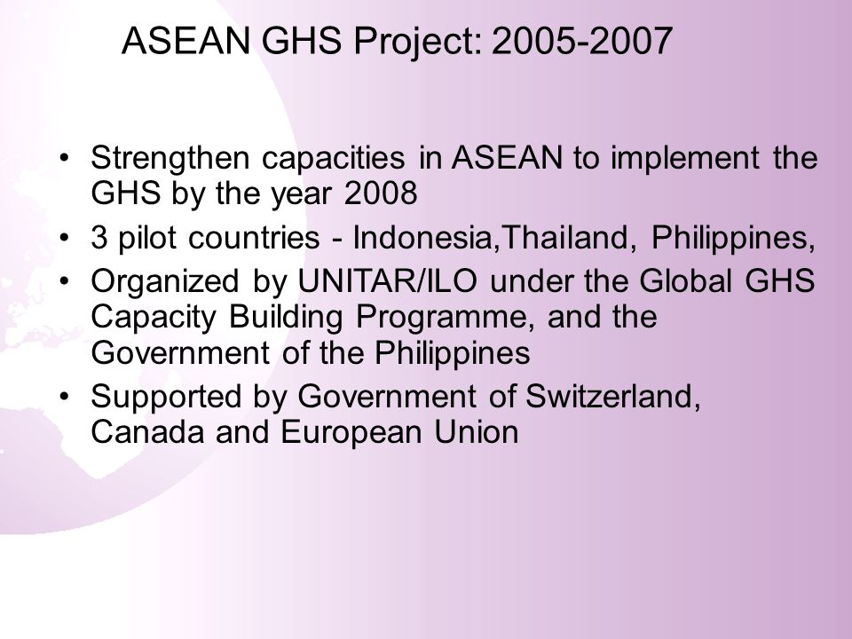 ASEAN GHS Project: 2005-2007 Participation of 43 representatives from government, industry and civil society from 10 countries of ASEAN Developed recommendations for action at national and regional level.