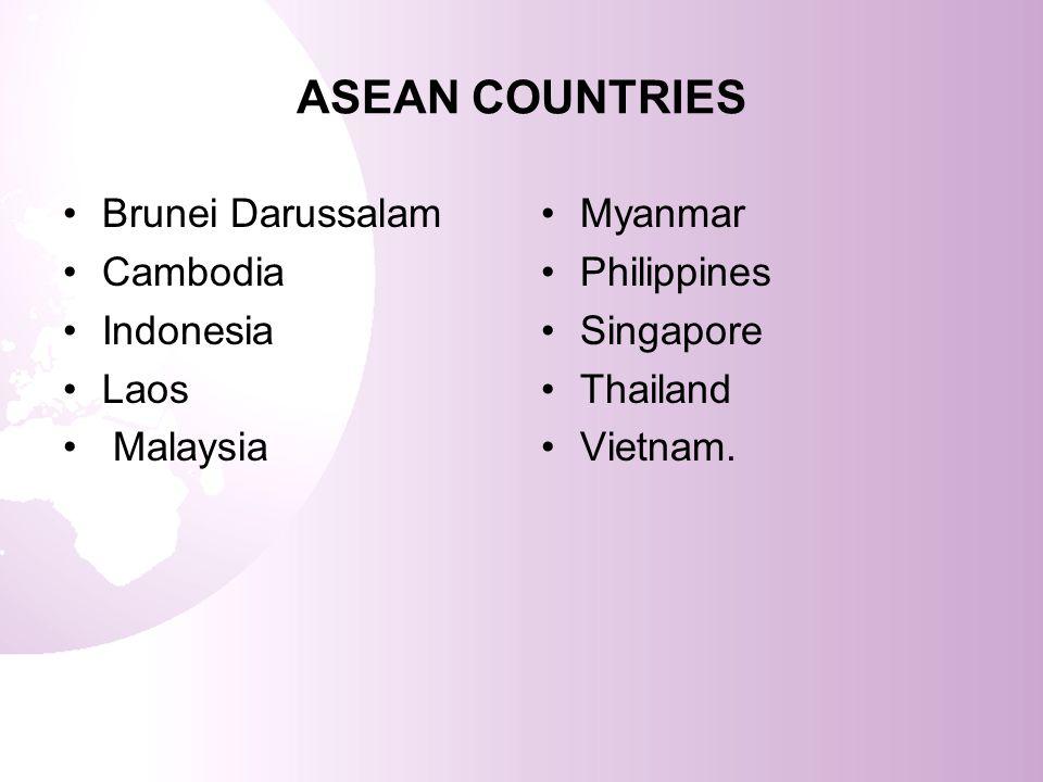 ASEAN COUNTRIES Brunei Darussalam Cambodia Indonesia Laos Malaysia Myanmar Philippines Singapore Thailand Vietnam.