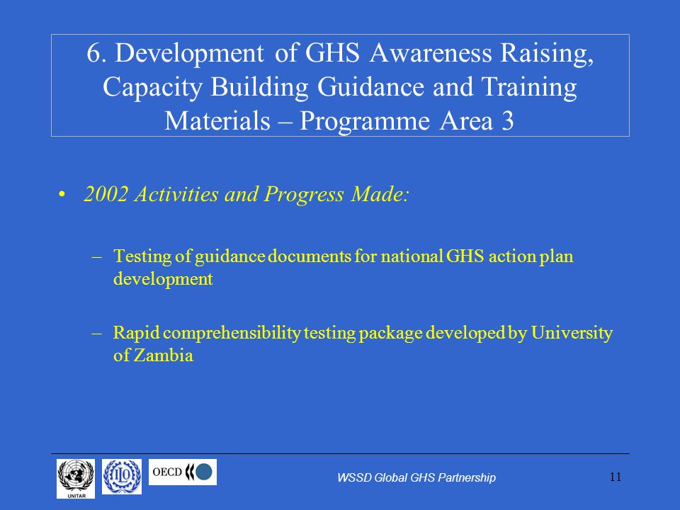11 2002 Activities and Progress Made: –Testing of guidance documents for national GHS action plan development –Rapid comprehensibility testing package developed by University of Zambia 6.