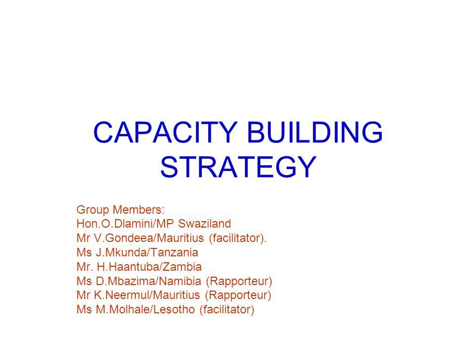 CAPACITY BUILDING STRATEGY Group Members: Hon.O.Dlamini/MP Swaziland Mr V.Gondeea/Mauritius (facilitator).
