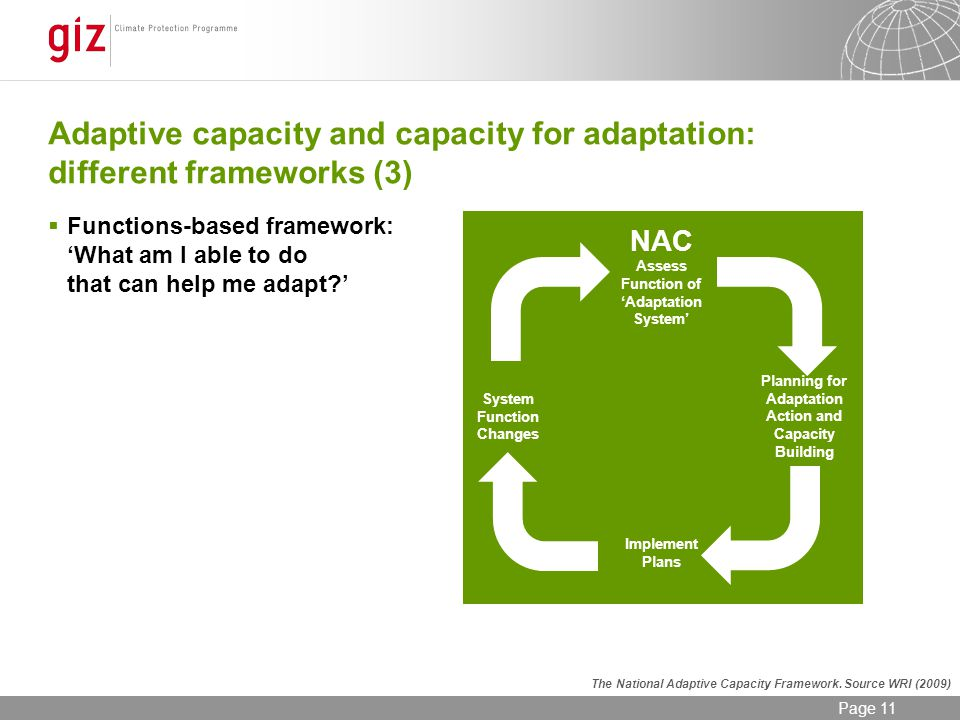 12/06/2014 Seite 11 Page 11 Adaptive capacity and capacity for adaptation: different frameworks (3) Functions-based framework: What am I able to do that can help me adapt.