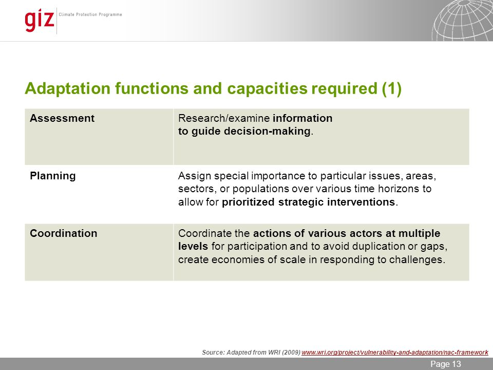 12/06/2014 Seite 13 Page 13 Adaptation functions and capacities required (1) AssessmentResearch/examine information to guide decision-making.