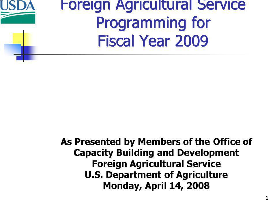 12 FY 2008 Programming Food for Progress (Title I) Food for Progress (CCC) Food for Education TOTALS Number of Agreements 0171936 Tons (thousands) 0.0212.790.8303.5 Total Value ($ millions)$0.0$155.9$100.0$255.9
