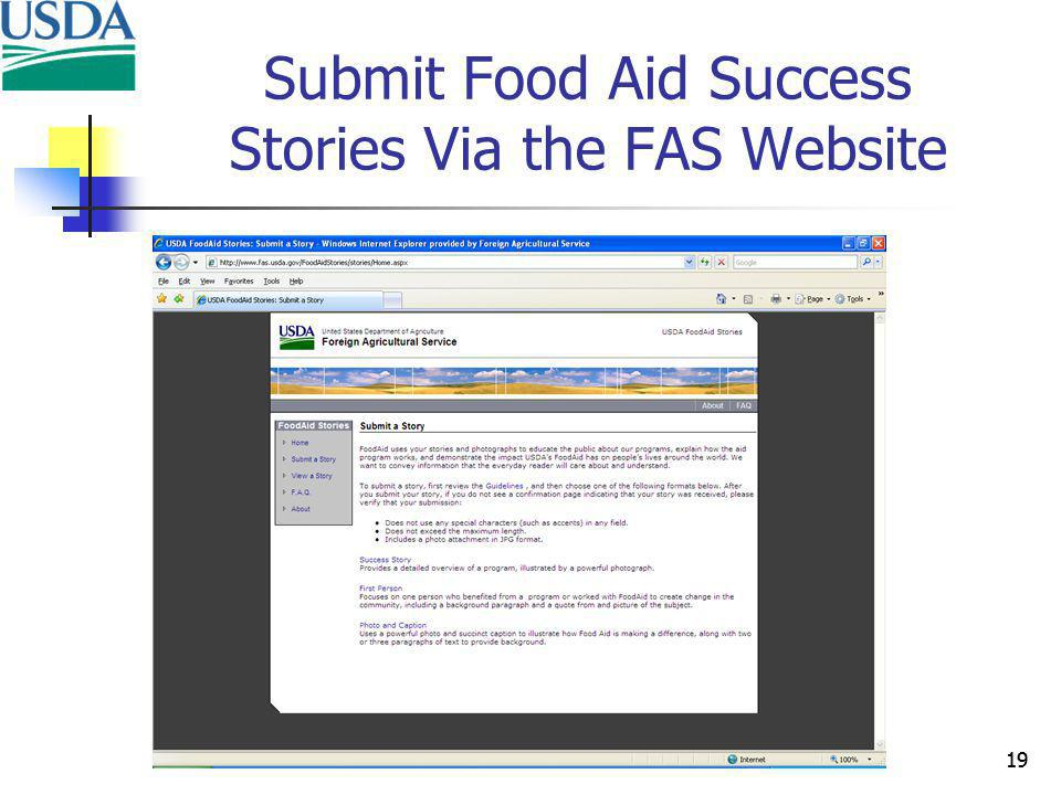 19 Submit Food Aid Success Stories Via the FAS Website