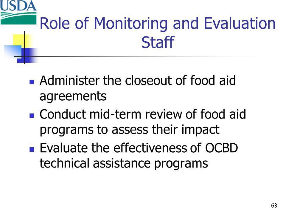 63 Role of Monitoring and Evaluation Staff Administer the closeout of food aid agreements Conduct mid-term review of food aid programs to assess their impact Evaluate the effectiveness of OCBD technical assistance programs