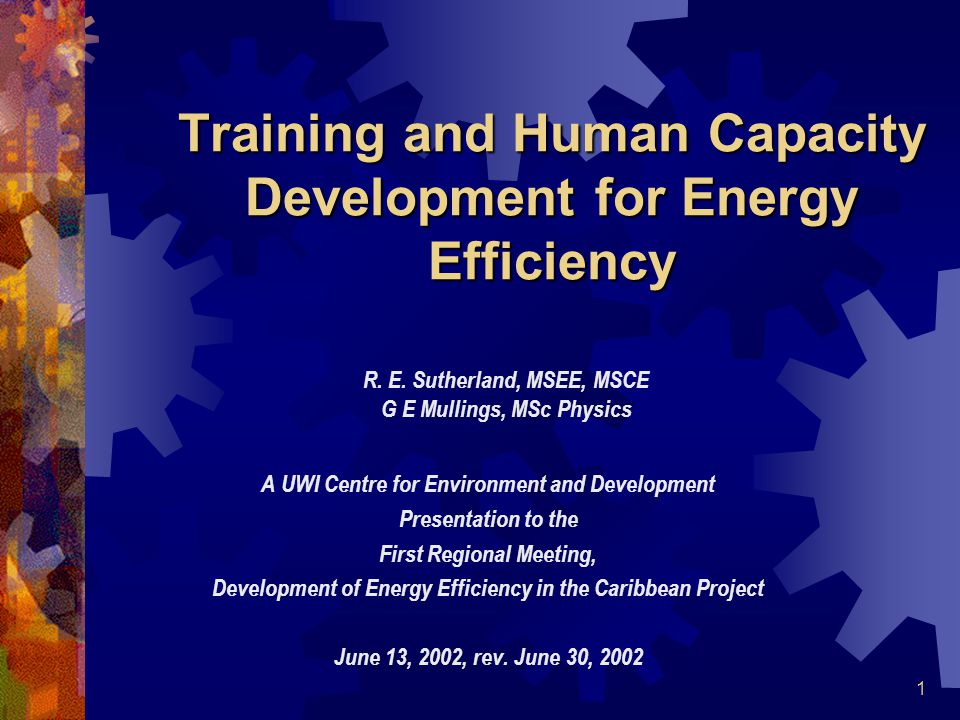 1 Training and Human Capacity Development for Energy Efficiency A UWI Centre for Environment and Development Presentation to the First Regional Meeting, Development of Energy Efficiency in the Caribbean Project June 13, 2002, rev.