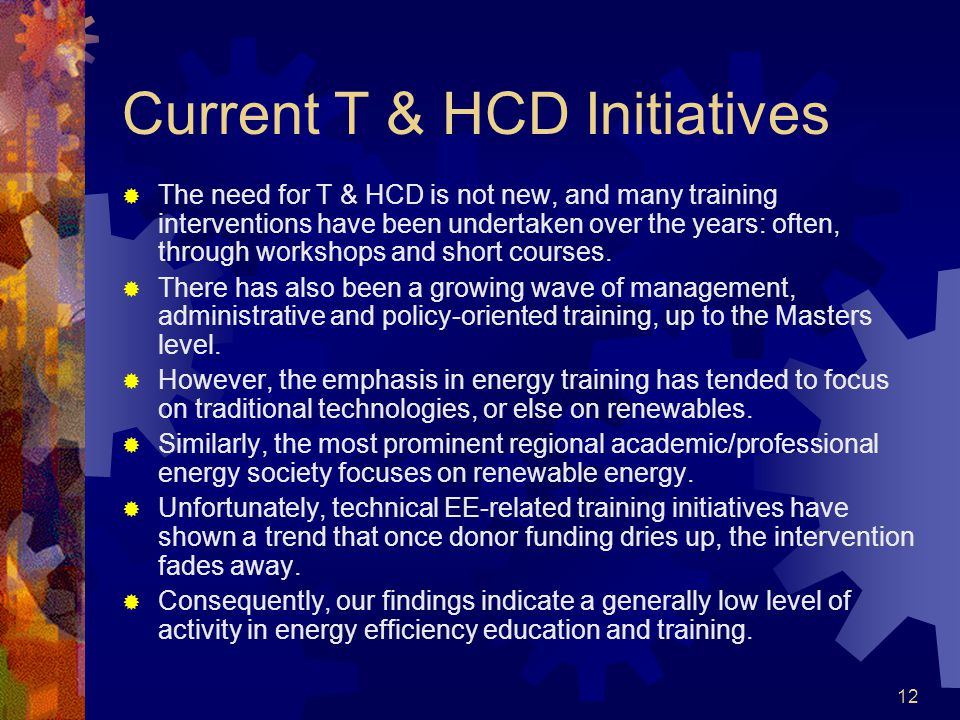 12 Current T & HCD Initiatives The need for T & HCD is not new, and many training interventions have been undertaken over the years: often, through workshops and short courses.