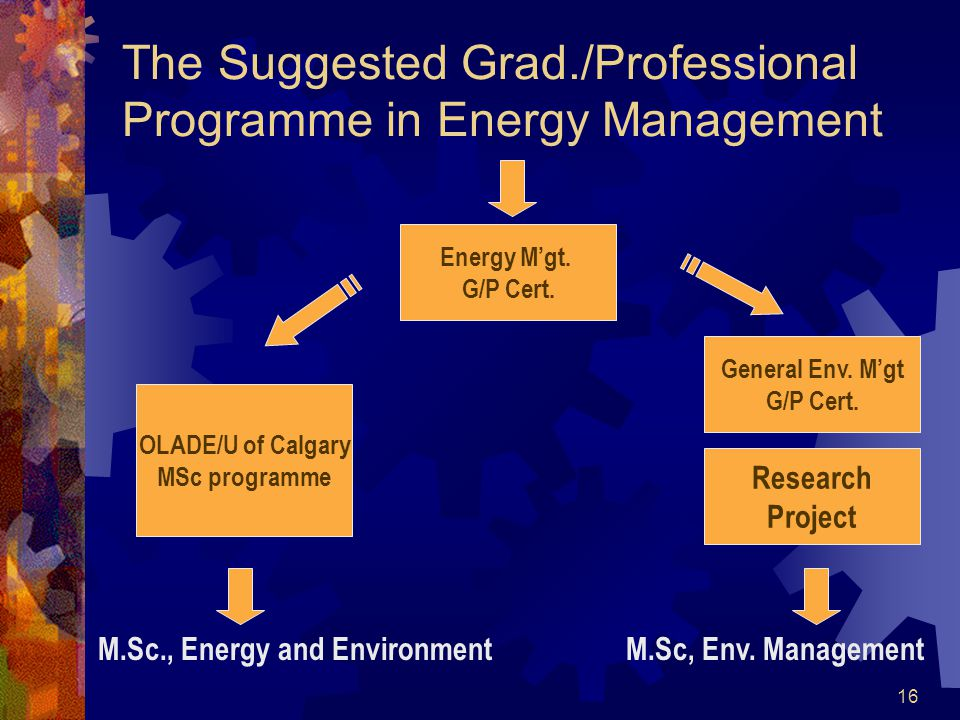 16 The Suggested Grad./Professional Programme in Energy Management Energy Mgt.