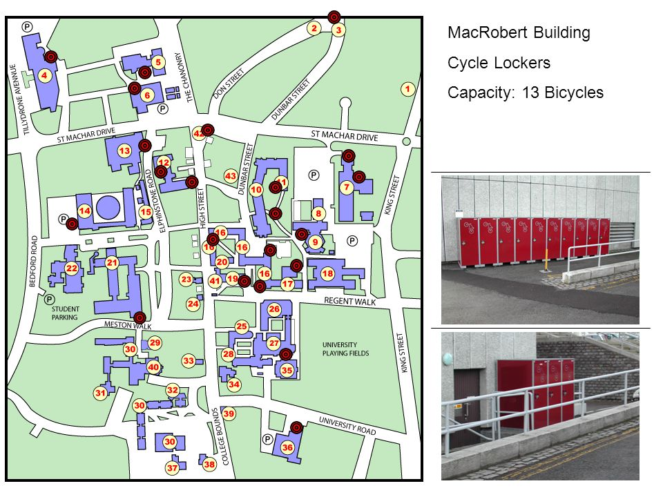 MacRobert Building Cycle Lockers Capacity: 13 Bicycles