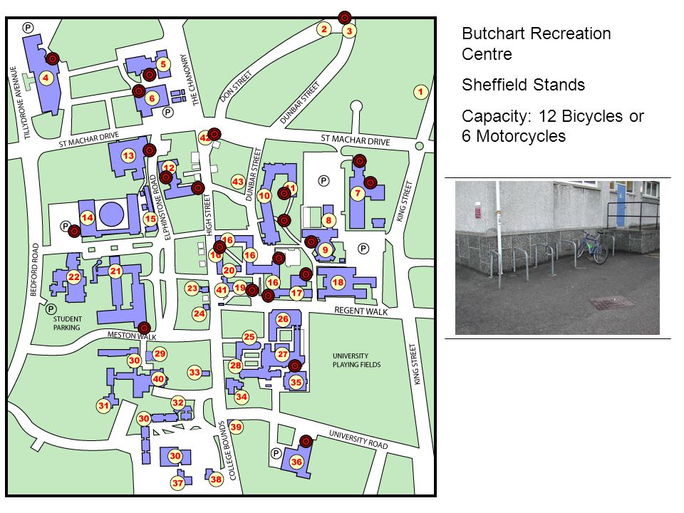 Butchart Recreation Centre Sheffield Stands Capacity: 12 Bicycles or 6 Motorcycles