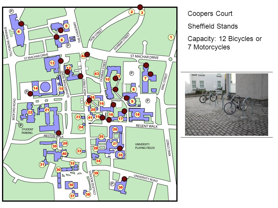 Coopers Court Sheffield Stands Capacity: 12 Bicycles or 7 Motorcycles
