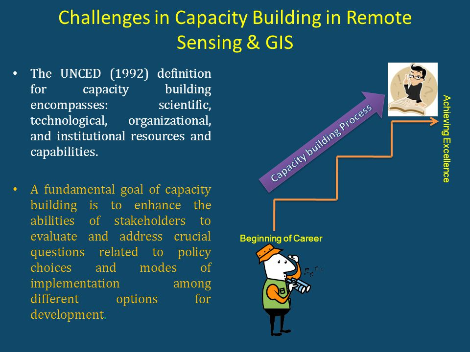 Challenges in Capacity Building in Remote Sensing & GIS The UNCED (1992) definition for capacity building encompasses: scientific, technological, organizational, and institutional resources and capabilities.