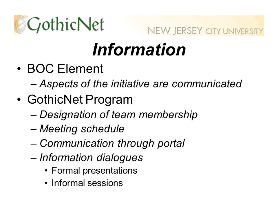 Information BOC Element –Aspects of the initiative are communicated GothicNet Program –Designation of team membership –Meeting schedule –Communication through portal –Information dialogues Formal presentations Informal sessions