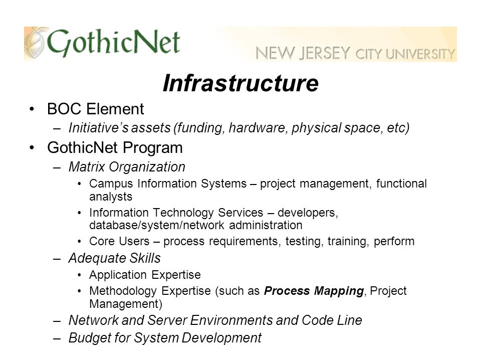 Infrastructure BOC Element –Initiatives assets (funding, hardware, physical space, etc) GothicNet Program –Matrix Organization Campus Information Systems – project management, functional analysts Information Technology Services – developers, database/system/network administration Core Users – process requirements, testing, training, perform –Adequate Skills Application Expertise Methodology Expertise (such as Process Mapping, Project Management) –Network and Server Environments and Code Line –Budget for System Development