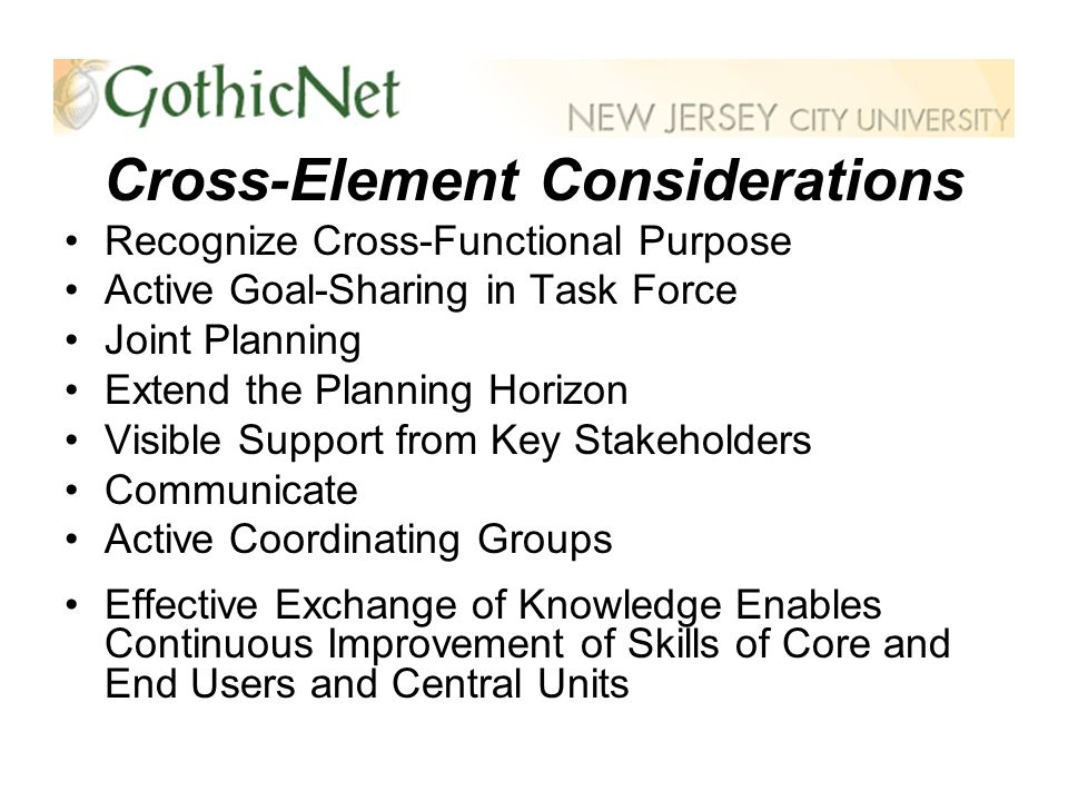 Cross-Element Considerations Recognize Cross-Functional Purpose Active Goal-Sharing in Task Force Joint Planning Extend the Planning Horizon Visible Support from Key Stakeholders Communicate Active Coordinating Groups Effective Exchange of Knowledge Enables Continuous Improvement of Skills of Core and End Users and Central Units