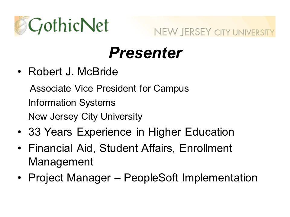 Presenter Robert J.
