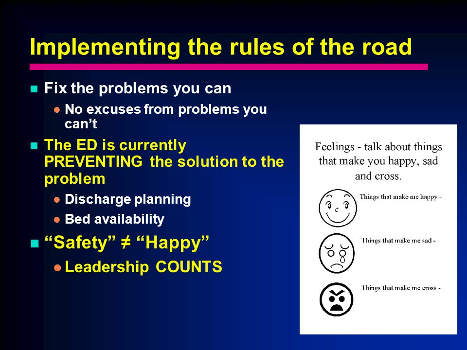 Implementing the rules of the road Fix the problems you can No excuses from problems you cant The ED is currently PREVENTING the solution to the problem Discharge planning Bed availability Safety Happy Leadership COUNTS