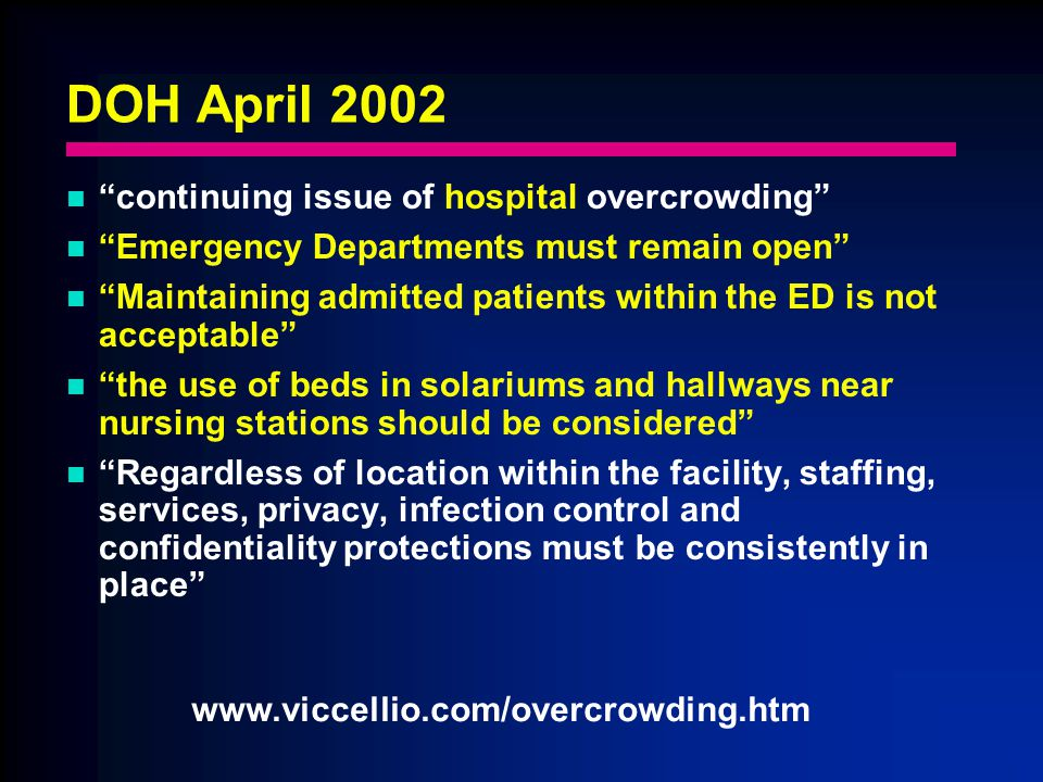 DOH April 2002 continuing issue of hospital overcrowding Emergency Departments must remain open Maintaining admitted patients within the ED is not acceptable the use of beds in solariums and hallways near nursing stations should be considered Regardless of location within the facility, staffing, services, privacy, infection control and confidentiality protections must be consistently in place www.viccellio.com/overcrowding.htm