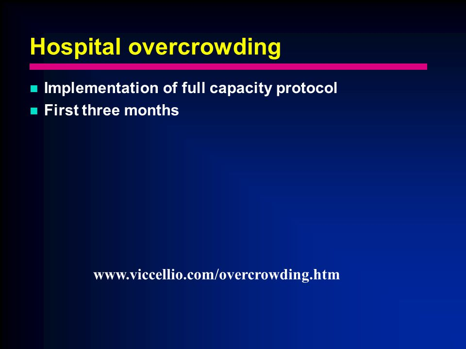 Hospital overcrowding Implementation of full capacity protocol First three months www.viccellio.com/overcrowding.htm