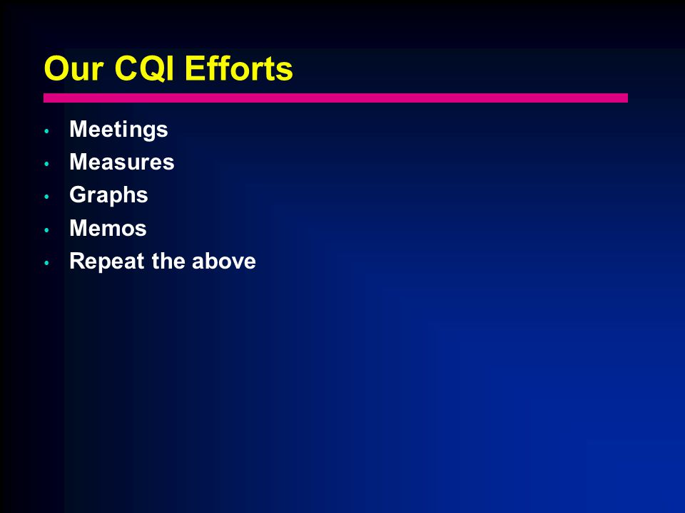 Our CQI Efforts Meetings Measures Graphs Memos Repeat the above