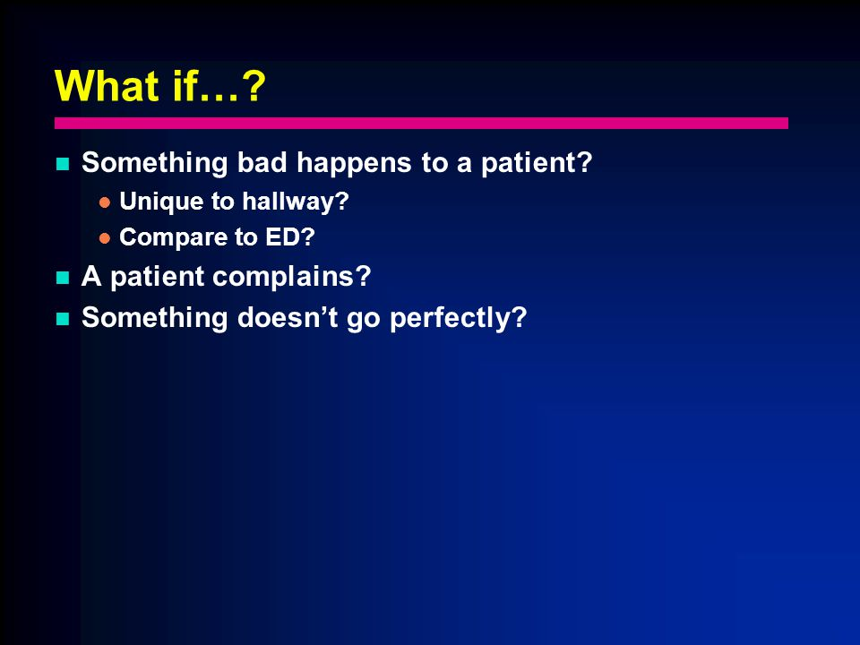 What if…. Something bad happens to a patient. Unique to hallway.