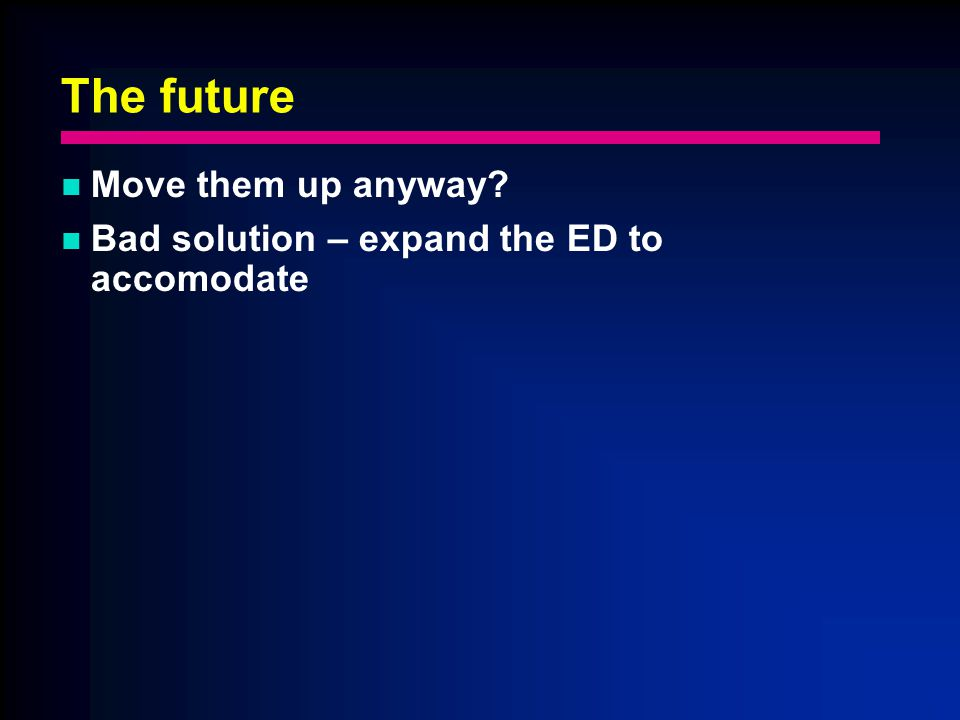 The future Move them up anyway Bad solution – expand the ED to accomodate