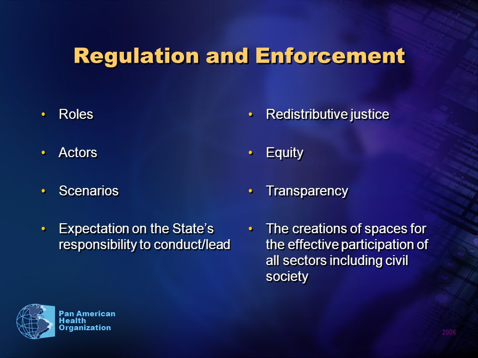 2006 Pan American Health Organization Regulation and Enforcement Roles Actors Scenarios Expectation on the States responsibility to conduct/lead Roles Actors Scenarios Expectation on the States responsibility to conduct/lead Redistributive justice Equity Transparency The creations of spaces for the effective participation of all sectors including civil society
