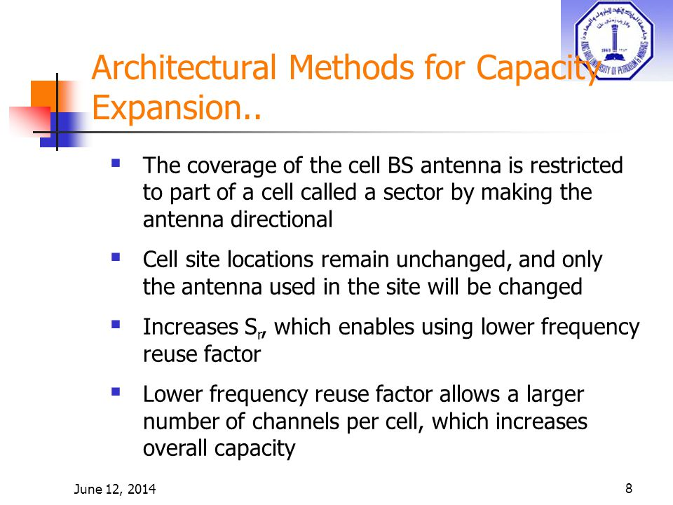 June 12, 20148 Architectural Methods for Capacity Expansion..