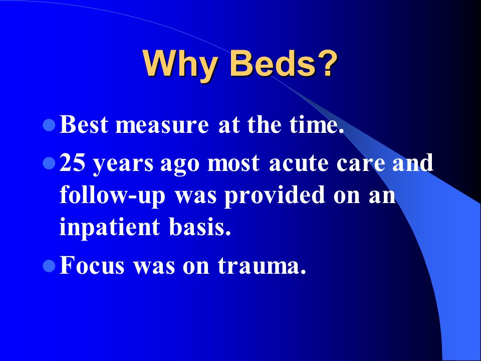 Why Beds. Best measure at the time.